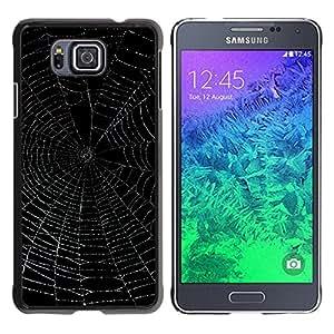 Qstar Arte & diseño plástico duro Fundas Cover Cubre Hard Case Cover para Samsung GALAXY ALPHA G850 ( Spider Web Black Night Glowing Night)