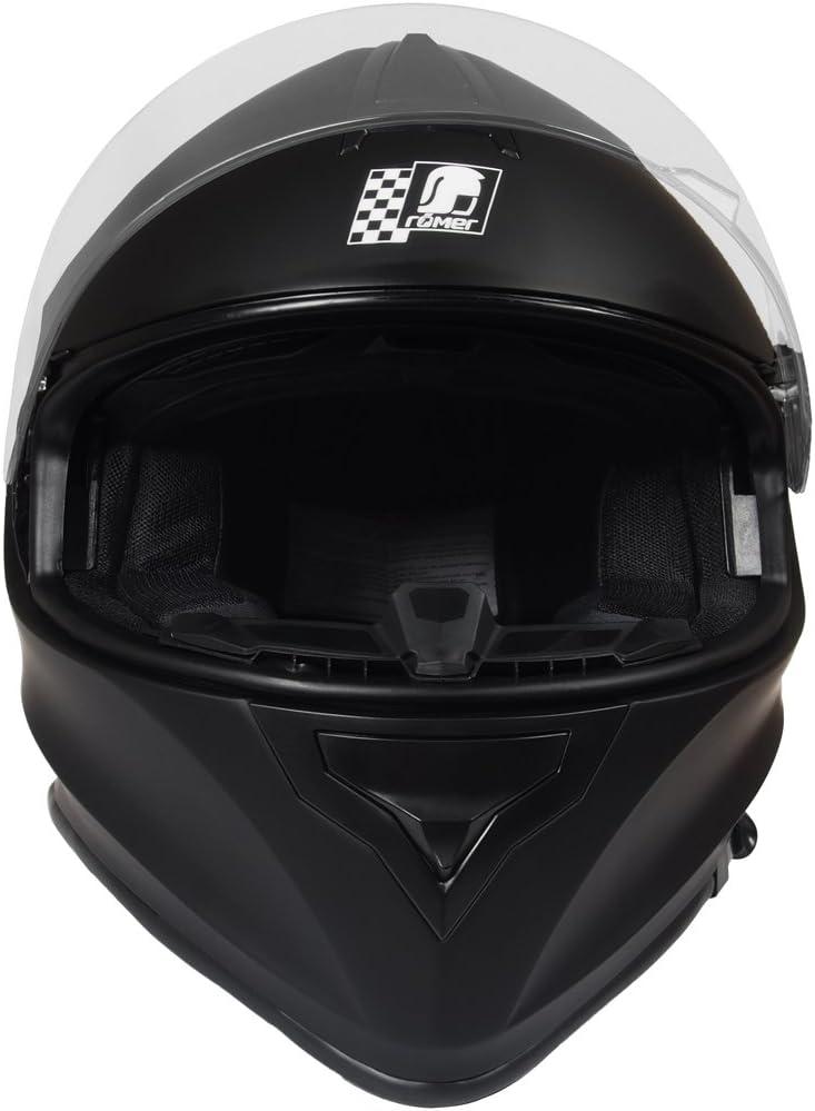 Schwarz R/ömer Helmets Fuerth Motorradhelm mit integriertem schwarzen Visier Gr/ö/ße M