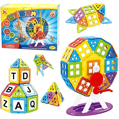 OOFAY 102 Pcs Magnetic Blocks Creative Magnetic Building Blocks Magnetic Tiles Set For 3D Construction For Kids Age 3+ Educational Toys For Kids by OOFAY (Image #3)