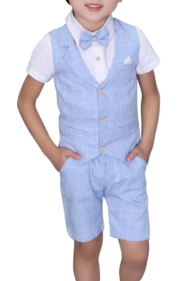 Boys Plaid Summer Suits Vest Set 3 Pieces Shirt Vest and Pants Set 3 Colors (3T, Blue)