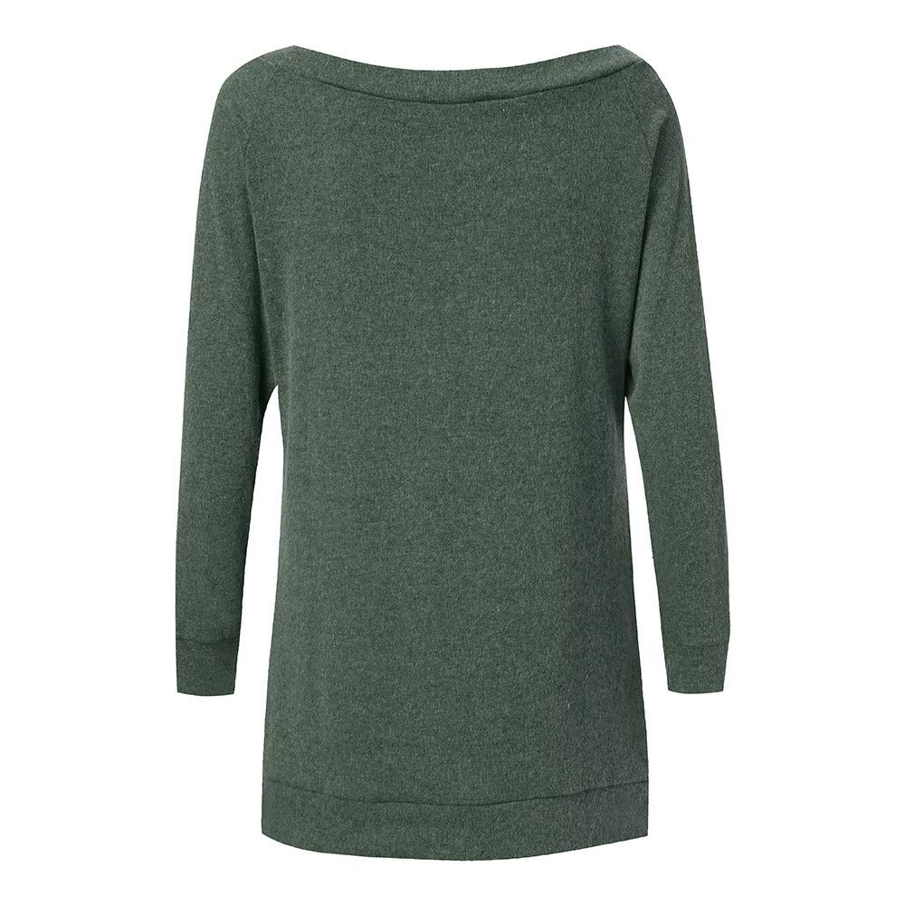 Goosuny Weihnachten Longshirt Damen Rundhals Langarm Elch Wapiti Print Sweatshirt Loose Bluse Pullover Mit Tasche Casual Oberteil Modische T Shirts