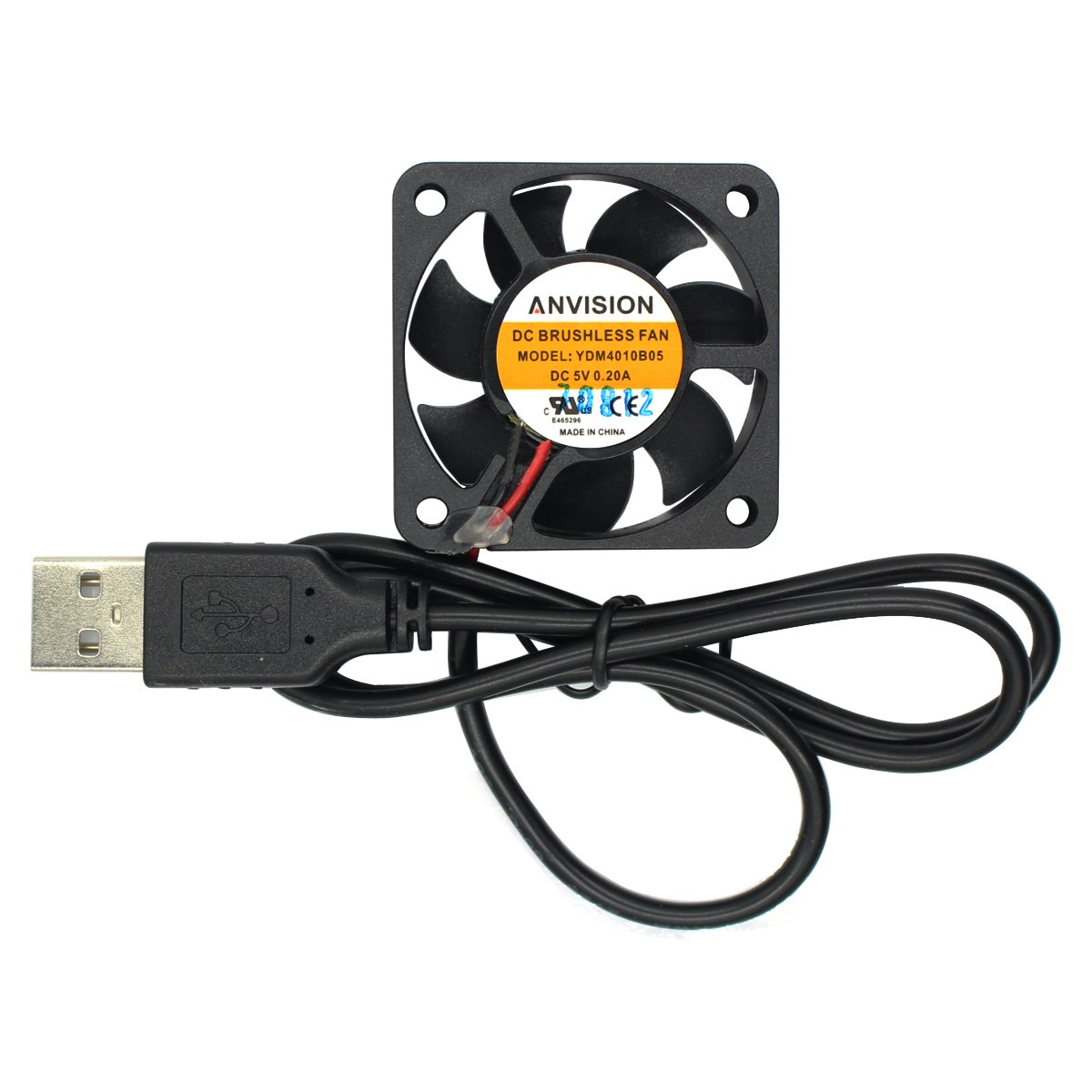 ANVISION 40mm x 10mm DC 5V USB Brushless Cooling Fan, Dual Ball Bearing, YDM4010B05