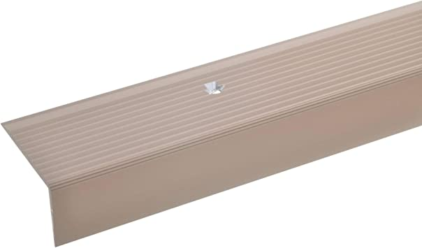 acerto 32511 Perfil angular de escalera de aluminio - 100cm 20x40mm bronce claro * Antideslizante * Robusto * Fácil instalación | Perfil de peldaño perfil de peldaño de escalera de aluminio: Amazon.es: Bricolaje y herramientas