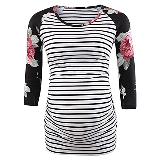 a23f930924601 2019 Sale! Stylish Maternity Clothes Women Mom Pregnant Ruched Pregnancy  Maternity Stripe Floral Tops Blouse