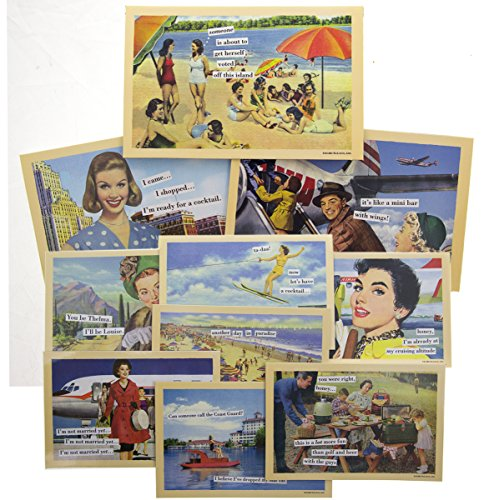 - 10 Pack Anne Taintor 4x6 Inch Magnetic Postcards Set Refrigerator Funny Retro Comic Art