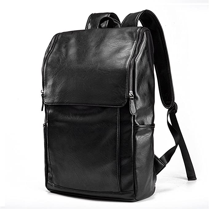 aa12f681bf6b Amazon.com  UKXMNC Men Bag Large Capacity Leather Backpack For Man Casual  Business Laptop Backpack College Travel Male Black  Sports   Outdoors