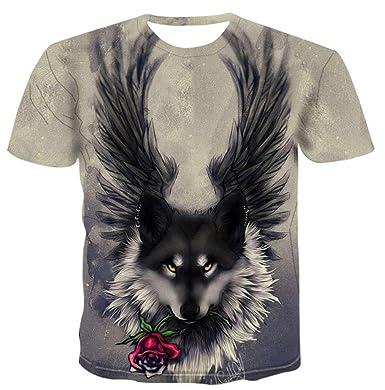 Luotears New Animal Wolf Camiseta Lindo Gato Gris Camisetas ...