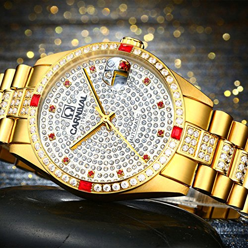 Luxury Men Automatic Mechanical Business Calendar Stainless Steel Military Rhinestone Waterproof Watch (Gold) by Fanmis (Image #1)