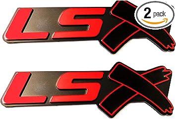 Chrome red 2 pcs LSX Emblem Badge 3D Self-adhesive Nameplate Sticker Replacement for Chevy Camaro Corvette LS LT ZL SS Silverado