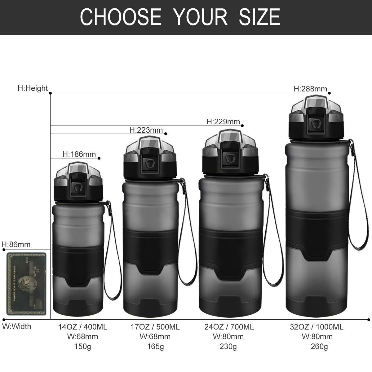 Kang Zhi Yuan BPA Free Leak Proof Plastic Bottles for Outdoors,Camping,Cycling,Fitness,Gym,Yoga Kids//Adults Drink Bottles with Filter,Flip Top,Lockable Lid Open with 1 Click