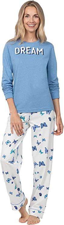 PajamaGram PJs for Women Set - Soft Pajamas, Cotton Jersey, Butterfly, 1X 16-18