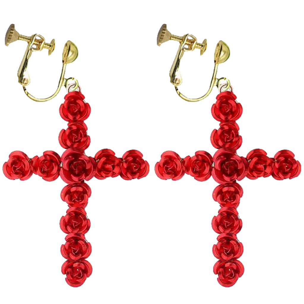 Fashion Baroque Clip on Earrings Screw Back Red Rose Flower Beautiful Cross Dangle for Girls Women