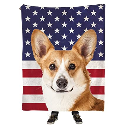 3b8a70ef842c Image Unavailable. Image not available for. Color: Natural Enjoy Throw  Blankets Print Pembroke Welsh Corgi Dog ...