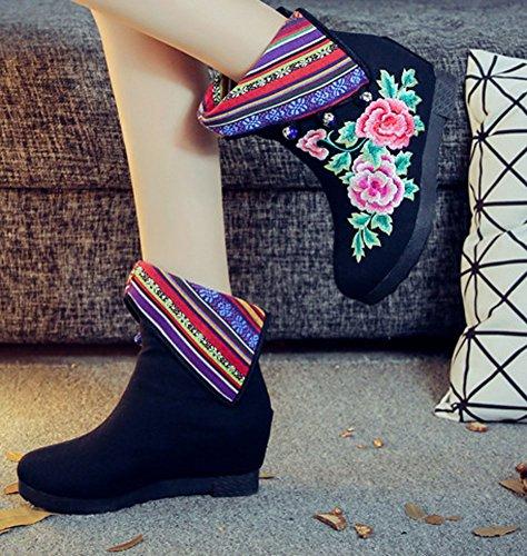 Botas De Bordado De Tela Multicolores De Algodón De Avacostume Para Mujer Negro
