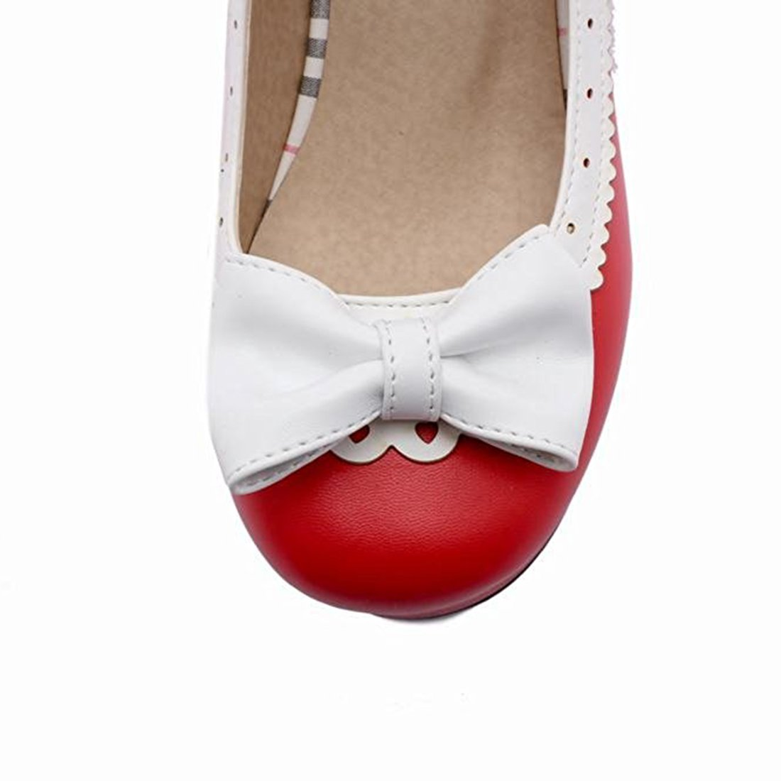 Agodor Womens Platform Mid Heel Mary Janes Ankle Strap Court Shoes With Bowtie Retro Closed Toe Cute Pumps