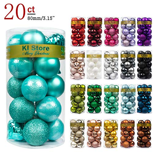KI Store 20ct Christmas Ball Ornaments Shatterproof Christmas Decorations Large Tree Balls for Holiday Wedding Party Decoration, Tree Ornaments Hooks Included 3.15 (80mm Teal)