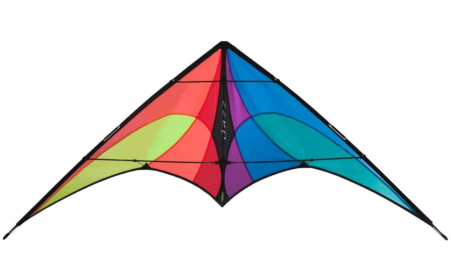 Prism Jazz Dual Line Delta Framed Stunt Kite with 40' Tail Bundle (3 Items) + Prism 40ft Nylon Ripstop Streamer Tail + WindBone Kiteboarding Lifestyle Stickers + Key Fob (Spectrum)