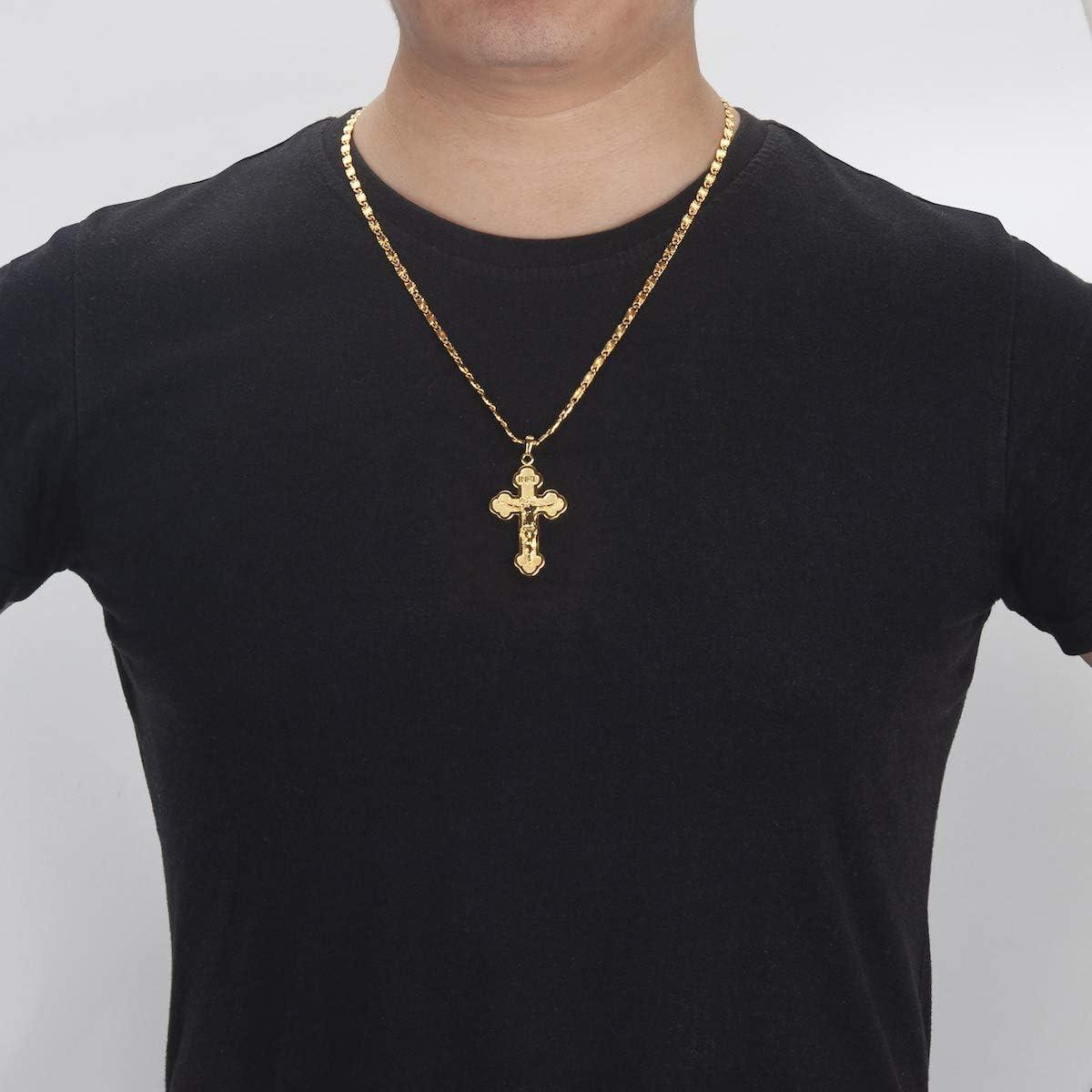 MASARWA Homme Femme Plaqu/é or 24 K J/ésus Christ Croix Crucifix Pendentif Colliers Cha/îne de 60cm