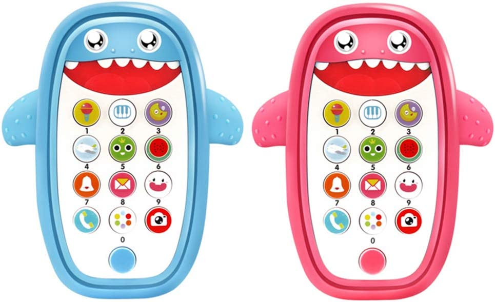 Catkoo Cute Shark Music Phone LED Light Whack-A-Mole Educational Toddler Kids Toy,Perfect Training Childrens Intelligence Gifts Blue