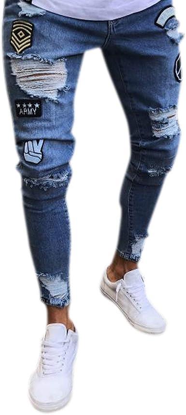 Pantalones Vaqueros Mezclilla Con Agujeros Para Hombre Pantalones Modernas Casual Vaqueros Mezclilla Usados Look Slim Fit Destruido Ropa De Calle De Mezclilla Amazon Es Ropa Y Accesorios
