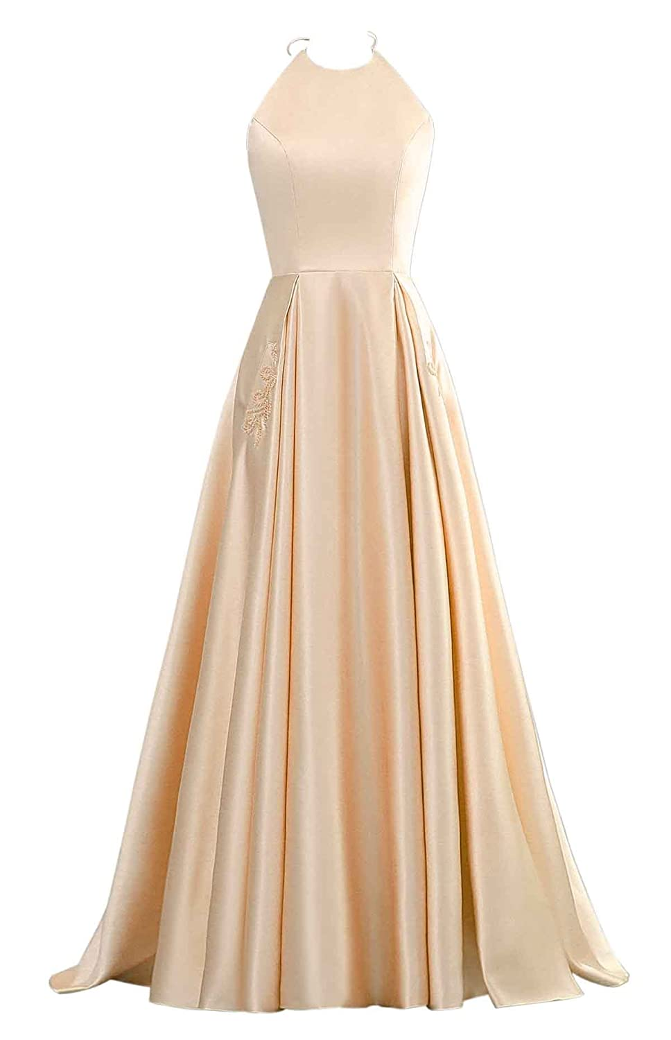Champagne Changuan Halter Aline Satin Evening Prom Dresses for Women Beaded Long Formal Gown with Pockets