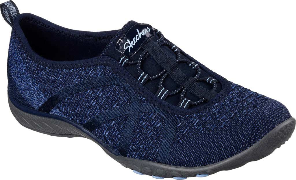 Skechers Women's Relaxed Fit Breathe Easy Fortune-Knit Slip-On,Navy,US 5 W