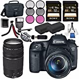Canon EOS 7D Mark II DSLR Camera 18-135mm STM Lens 9128B016 + Canon EF 75-300mm Lens + LPE-6 Lithium Ion Battery + Sony 16GB SDHC Card + Sony 32GB SDHC Card + Flexible Tripod + Flash Bundle