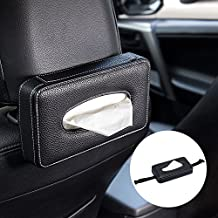 Mr.Ho Luxury Black Leather Car Back Seat Headrest Hanging Tissue Holder Case Mount, Multi-use Car Tissue Paper Holder with One Tissue Refill for Car & Truck Decoration