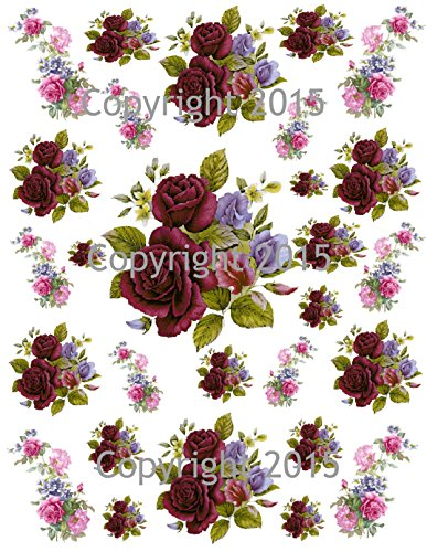 Victorian Scrap Die Cuts (Victorian Purple and Blue Flowers Collage Sheet Printed Collage Sheet, Weddings, Decoupage, Scrapbook, Altered Art, Victorian Scrap)