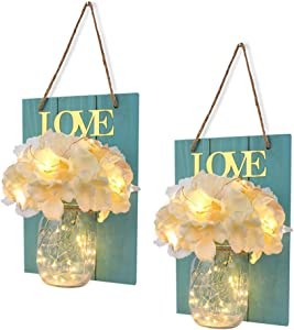 FineUsea Set of 2 Mason Jars Sconce, Rustic Home Decor Wall Wood Art Sconces Hydrangea Flowers LED Fairy Lights for Country House Office Dining Room Decor (Blue)