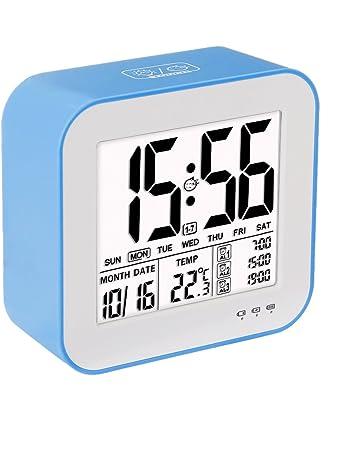 VADIV Despertador Reloj Digital Gran Pantalla LCD 3 alarmas Retro-Iluminación Inteligente con Fecha Indicador