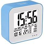 VADIV Despertador Reloj Digital Gran Pantalla LCD 3 alarmas Retro-Iluminación Inteligente con Fecha Indicador de Temperatura Calendario y Luz de Noche Se Carga por USB CL04-Azul