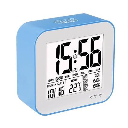 VADIV Despertador Reloj Digital Gran Pantalla LCD 3 alarmas Retro-Iluminación Inteligente con Fecha Indicador de Temperatura Calendario y Luz de Noche ...