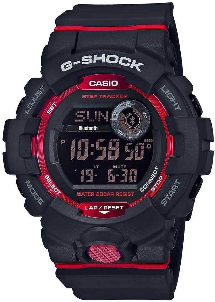 G-Shock GBD800-1 - Reloj digital para hombre (Bluetooth, cuadrado, talla única), color negro y rojo