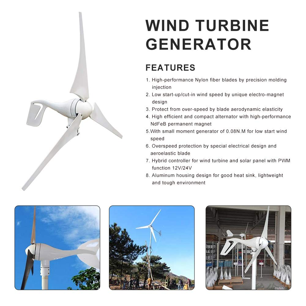 ECO-WORTHY 400 Watt Wind Turbine Generator with 12V/24V 20A Hybird Charge  Controller for Charging 12 or 24 Volt Battery