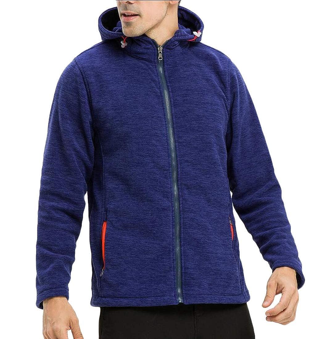 mydeshop Mens Loose Zip up Fleece Sherpa Lined Sweatshirt Long Sleeve Tops