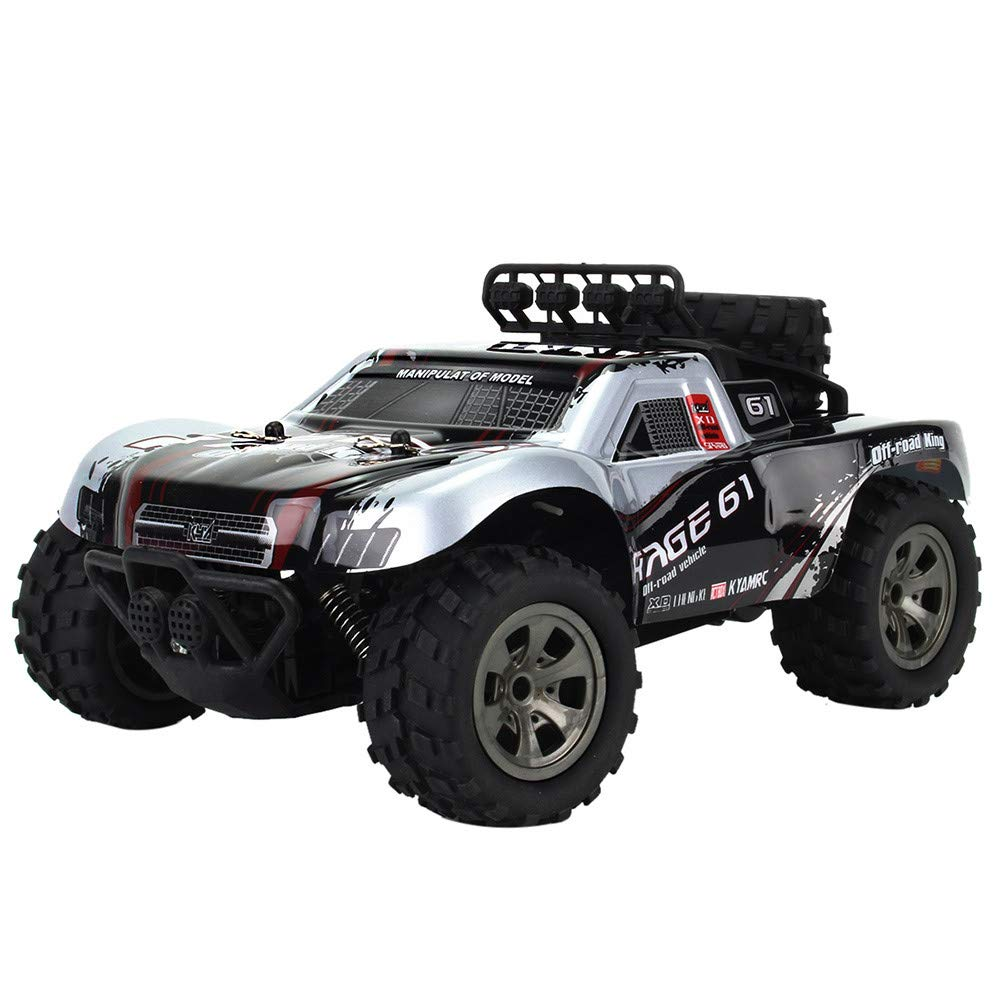 Choosebuy 1:18 Off-Road Remote Control Racing Car with 2.4GHz Technology, Durable Cool 2WD High Speed RC Tracked Cars Toys for Indoors/Outdoors, Best Gift for Children and Adults (Silver)