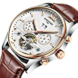 Original Stainless Steel Automatic Tourbillion Brown Genuine Leather Band Men's Watch