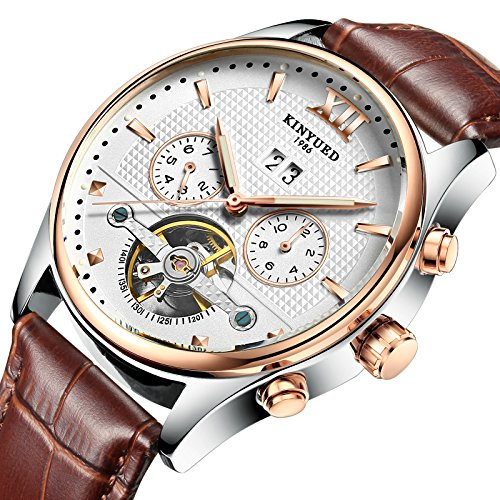 2017 KINYUED Original Stainless Steel Automatic Tourbillion Brown Genuine Leather Band Men's Watch