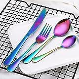 Binmer(TM) 4PCS Set Stainless Steel Upscale Dinnerware Flatware Cutlery Fork Spoon Teaspoon (Multicolour)
