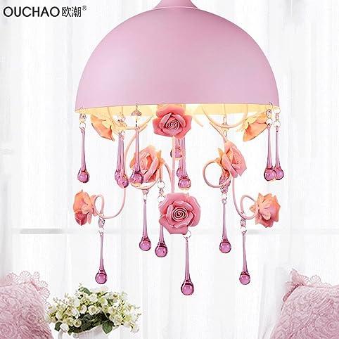 BESPD Koreanischen Garten Rose Blume Crystal Schlafzimmer Rund Einem Kopf  Kronleuchter Prinzessin Zimmer Mädchen Rosa Pendelleuchte