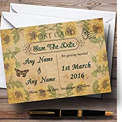 Sunflowers Vintage Shabby Chic Postcard Personalized Wedding Save The Date Cards