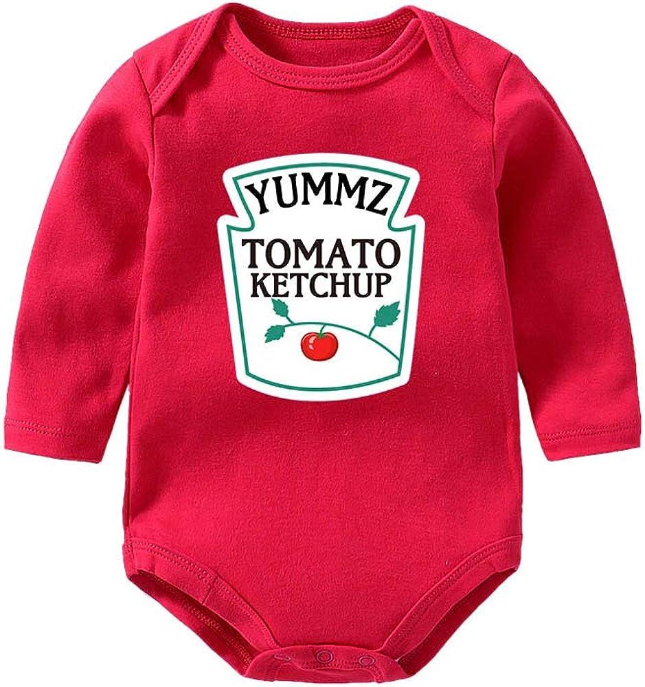 YSCULBUTOL Baby Ketchup Mustard Newborn Tomato Outfit BabyTwins Bodysuit Foodie Gift Set