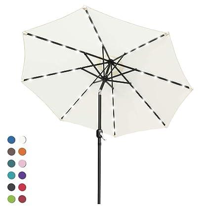 Amazon.com : ABCCANOPY Solar Umbrellas Patio Umbrella 9 FT LED ... on