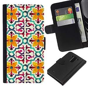 KLONGSHOP // Tirón de la caja Cartera de cuero con ranuras para tarjetas - Modelo de flor estilizada Amarillo - LG G3 //