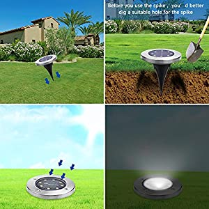 Solar Ground Lights,Garden Pathway Outdoor In-Ground Lights With 8 LED (8 pack)