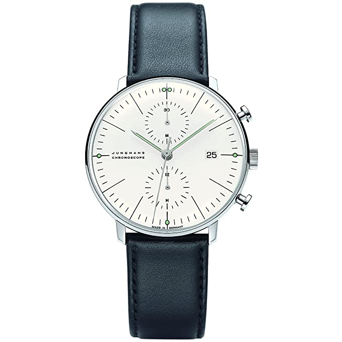 Junghans Max Bill Chronoscope Mens Automatic Chronograph Watch - 40mm Analog Silver Face with Luminous Hands and Date - Stainless Steel Black Leather ...