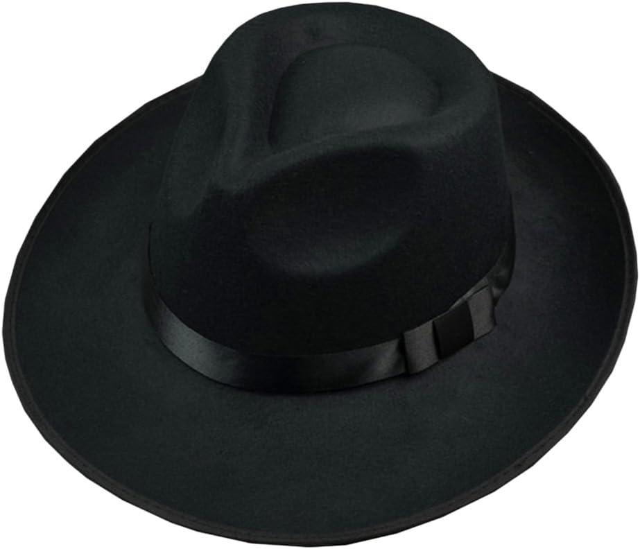 Zantec Sombrero Fedora de fieltro de lana unisex Sombrero ancho de Jazz de Fedora de ala ancha para hombre de 58-60 cm