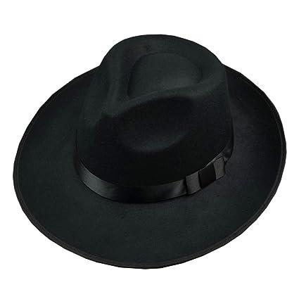 Zantec Sombrero Fedora de fieltro de lana unisex Sombrero ancho de Jazz de  Fedora de ala 10dae2554a5
