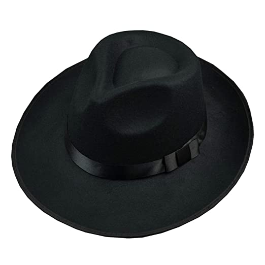 cdb0742a539 Image Unavailable. Image not available for. Color  Men Wool Felt Fedora Hat  Bowler Hat Classic Wide Brim ...